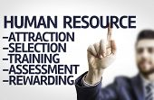 Business man pointing to transparent board with text: Description of Human Resource