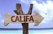 Califa wooden sign with a beach on background