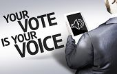Business man with the text Your Vote is Your Voice in a concept image