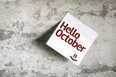 Hello October on Paper Note on texture background