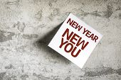 foto of new year 2014  - New Year New You on Paper Note on texture background - JPG