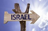 Israel wooden sign on a beautiful day