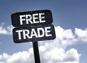 Free Trade sign with clouds and sky background