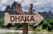 picture of bangla  - Dhaka wooden sign with agricultural background - JPG