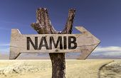 Namib wooden sign with a desert background