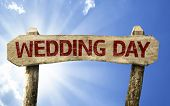 Wedding Day wooden sign on a beautiful day