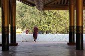 Monk walks at the Mandalay Palace