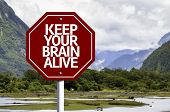Keep Your Brain Alive written on red road sign with landscape background