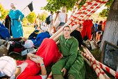 Warriors Participants Resting In Shadow Tree Of Vi Festival Of Medieval Culture