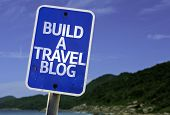 Build a Travel Blog sign with a beach on background