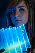 Vision Technology.Fiber Optic concept, woman with modern lights