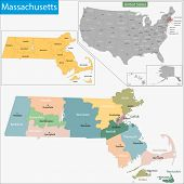 Map of Commonwealth of Massachusetts designed in illustration with the counties and the county seats