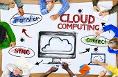 Group of Multiethnic People Discussing About Cloud Computing