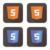 vector illustration of orange and blue html shield