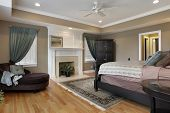 Master bedroom with fireplace and rug