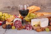 cheese, wine ,salami and bread