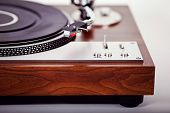 stock photo of analogy  - Stereo Turntable Vinyl Record Player Analog Retro Vintage Closeup - JPG