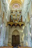 Amiens, FRANCE - APR 10: Notre-Dame of Amiens Cathedral interior on April 10, 2014 in Amiens, France. Vast, 13th-century Gothic edifice.