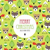 Merry christmas seasonal woodland moose bear and wolf animals postcard cover design background pattern in vector