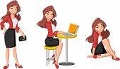 Beautiful cartoon business woman with computer