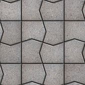 Gray Pavement  Slabs in the Polygonal Shape.