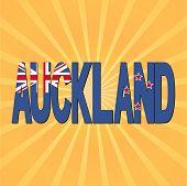 Auckland flag text with sunburst vector illustration