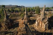 Ancient Buddhist Temple In The Jungle At Inn Taing On Inle Lake In Myanmar.
