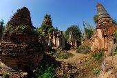 Crazy Pagodas Of Shwe Inn Taing Paya Near Inle Lake, Shan State, Myanmar.