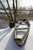 Old Boat On  Lake  Coast  Covered With Snow In Winter