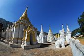 White Guardians And Pagodas In Temple,Myanmar.