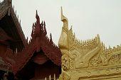 Wood Art Roof In Mandalay Palace, Myanmar.