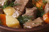 Beef Stew With Vegetables And Dill In A Pot Macro.