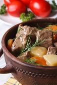 image of stew pot  - beef stew with vegetables in a pot close up - JPG