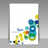Unique Flyer or Cover Design with Colorful Dots, Rings, Bubbles