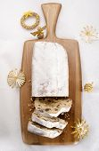 Christmas Stollen On Wooden Board