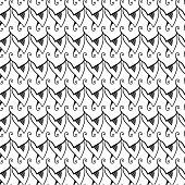 Abstract seamless black and white pattern. Plumage.