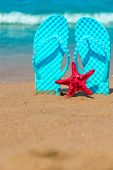 Vertical Shot Of Beach Shoes And Starfish On The Sea