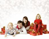 Christmas Family Portrait, Kid And Baby With New Year Present Gift Box