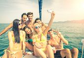 Friends On Boat Taking A Selfie