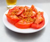 Tomatoes With Garlic Tapa. Tapa De Tomate Al Ajillo