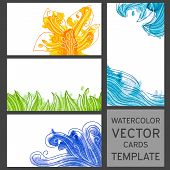 Set Of Grunge Watercolor Visit Cards Templates With Drawings