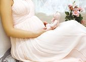 Pregnancy, Motherhood And Happy Future Mother Concept - Tender Pregnant Woman In Dress Home Near Win