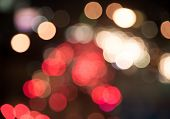 Bokeh Blur Of Traffic Light At Night