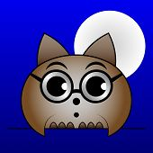 Brown Owl With Glasses And With The Moon