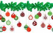 pic of ball cap  - Seamless festive Christmas garland with fir and different glass balls - JPG