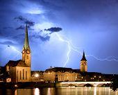 Fraumunster - Zurich With Lightning
