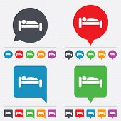 Vector Human in bed icon. Rest place. Sleeper symbol.