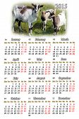 Calendar For 2015 Year With Goats