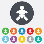 Vector Baby infant sign icon. Toddler boy symbol.