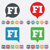 Vector Finnish language sign icon. FI translation.